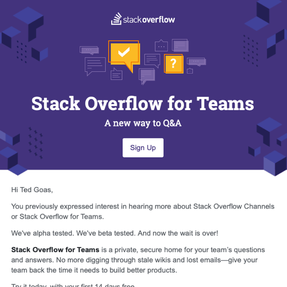 Stack Overflow for Teams announcement